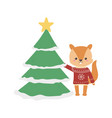 merry christmas celebration squirrel with sweater vector image vector image