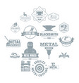 metal working logo icons set simple style vector image vector image