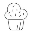 muffin thin line icon cake and food cupcake sign vector image vector image