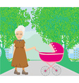 old lady pushing a stroller in the park vector image