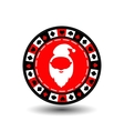 poker chip Christmas new year Santa Claus red vector image