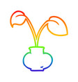rainbow gradient line drawing house plant vector image vector image