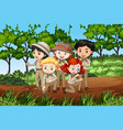 scene with many children in park vector image vector image