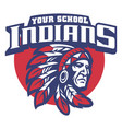 school mascot of indian chief head vector image vector image