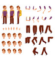 schoolboy creation set - little boy with brown vector image vector image