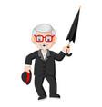 senior old businessman with umbrella vector image vector image