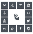 set of 13 editable active icons includes symbols vector image vector image