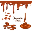 Set of chocolate drops and blots isolated on white vector image vector image