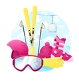 set of detailed flat skiing equipment vector image vector image