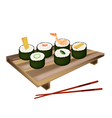 Set of Sushi Roll or Makizushi on White vector image vector image