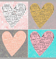 set of valentines card with line heart and love vector image
