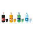 set plastic bottle water and sweet soda vector image