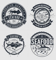 set seafood label badge emblem or logo vector image
