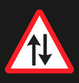 two way traffic sign flat icon vector image vector image