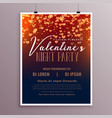 valentines day flyer template with falling hearts vector image vector image
