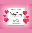 valentines day sale background with heart shaped vector image vector image