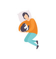 young man sleeping with his cat adorable pet and vector image vector image