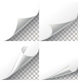 Curl paper corners set on transparent vector image