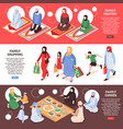 arab family banners set vector image vector image