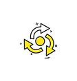 arrow straight right left centre icon design vector image