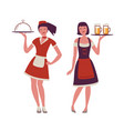 beautiful young waitress with tray in her hand vector image