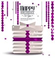 Birthday card with gift box in the style of flat vector image