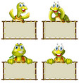 board template with cute turtle on white vector image vector image