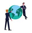 businessmen world business vector image
