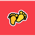 cartoon sticker with two steps of human vector image vector image