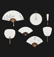 chinese fans japanese traditional hand fan set vector image vector image