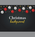 christmas background with 3d realistic ball vector image vector image