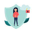 data protection banner with locked cloud and girl vector image