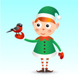 Elf with bullfinch vector image vector image