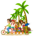 family riding tandem bike on beach vector image vector image