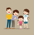 family visiting the woman woman doctor vector image vector image