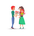 father gives bouquet of flowers for wife daughter vector image vector image