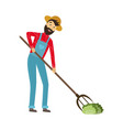 flat farmer working at field with pitchfork vector image