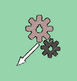 flat icon design collection two gears in hatching vector image vector image