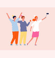 friends selfie party time smiling people vector image