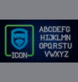 glowing neon shield with vpn and wifi wireless vector image vector image