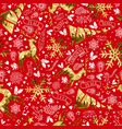 gold and red reindeer christmas seamless pattern vector image