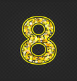 gold glittering number 8 vector image