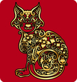 Golden cat ornament vector image vector image