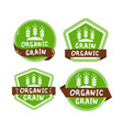 green label set with text organic grain vector image