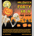 halloween promotion banner with skeleton on grave vector image vector image