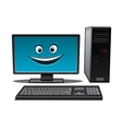 Happy cartoon desktop computer vector image vector image