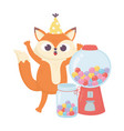 happy day little fox with jar full sweet vector image vector image