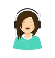 Happy young girl listening music in headphones vector image vector image