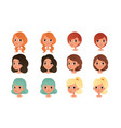 heads cute girls set pretty female characters vector image vector image