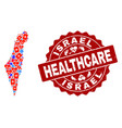 healthcare composition of mosaic map of israel and vector image
